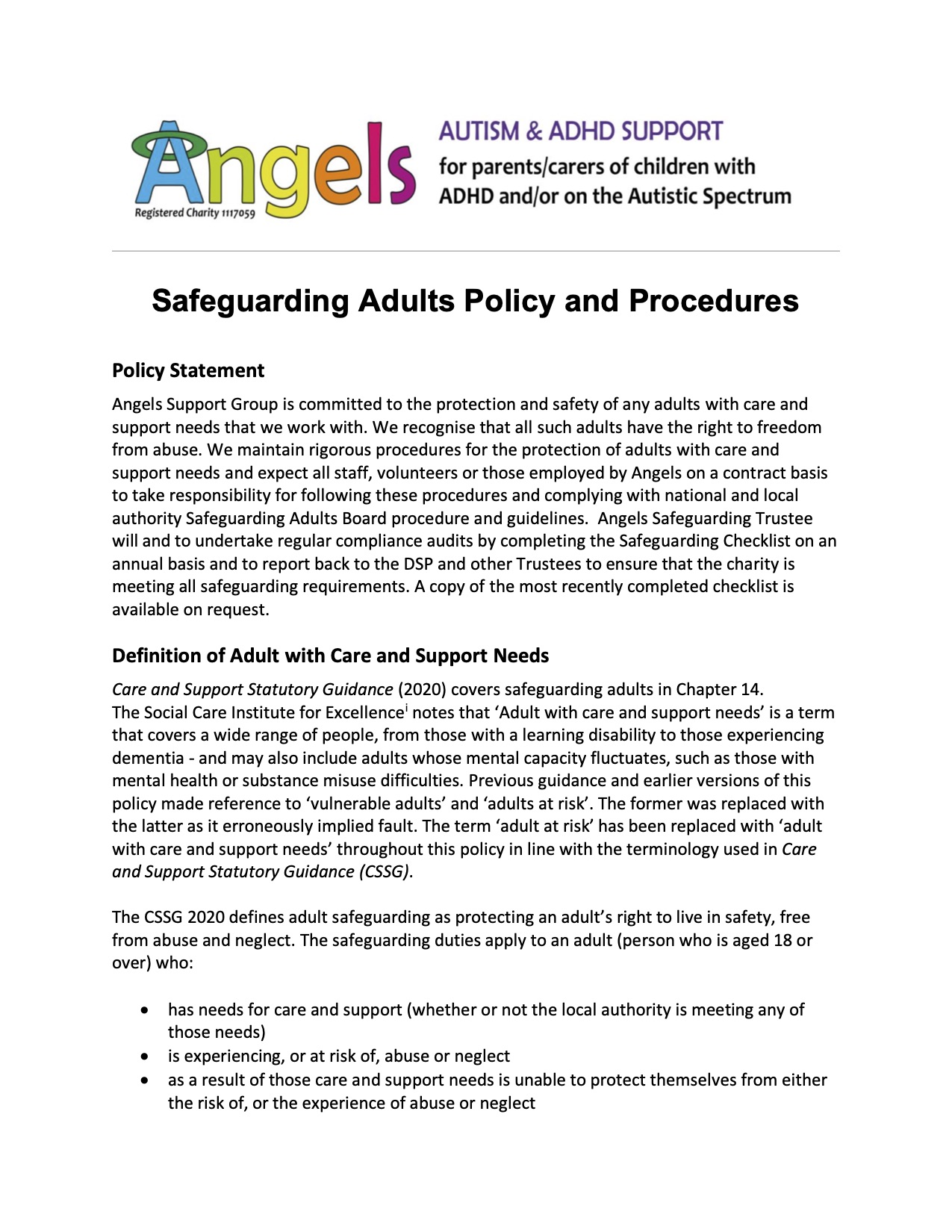 Safeguarding Vulnerable Adults Policy
