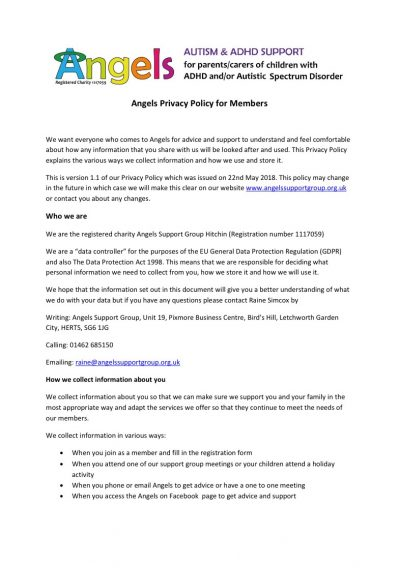 Angels Privacy Policy for Members