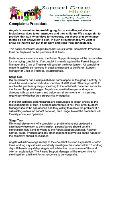 Angels Complaints Policy