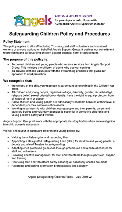 Angels Safeguarding Children Policy